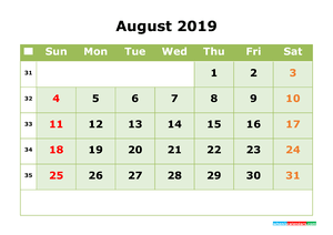 August 2019 Printable Calendar with Week Numbers for Free Download