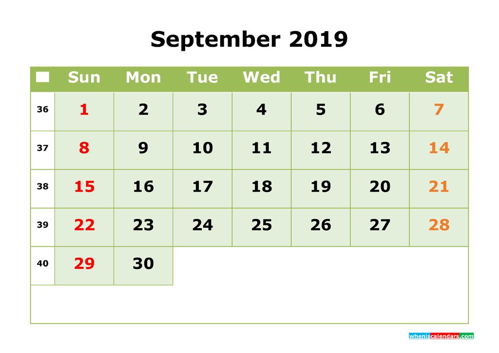 September 2019 Printable Calendar Month by Month Calendar Template