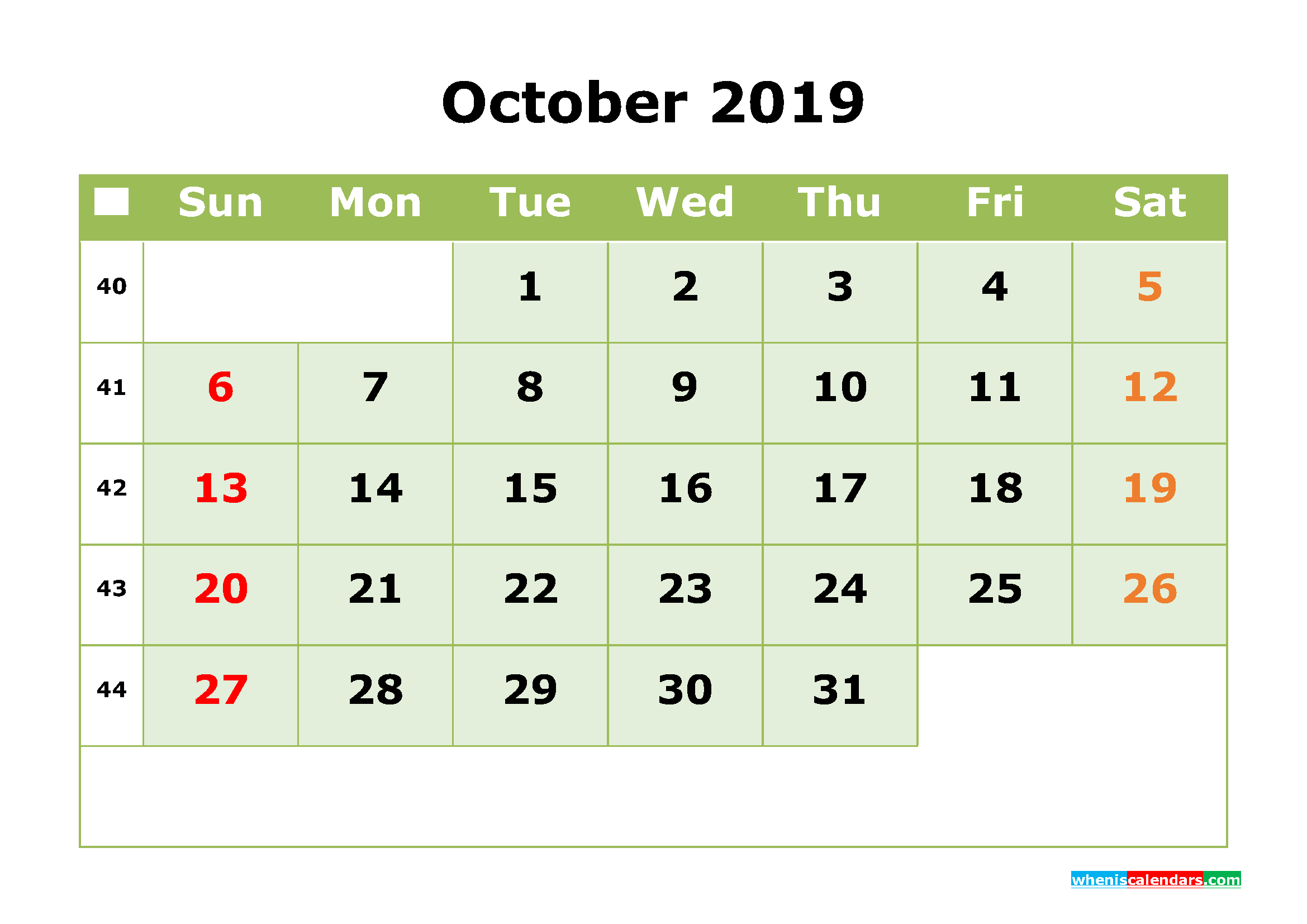 October 2019 Printable Calendar Month By Month Calendar Template