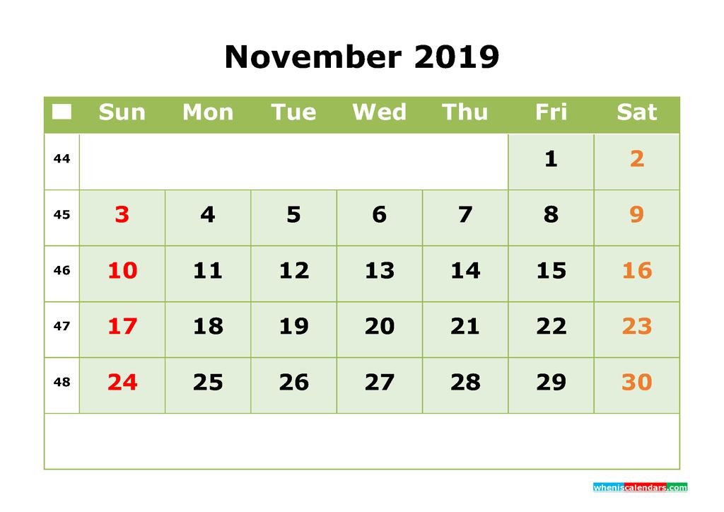 November 2019 Printable Calendar Month by Month Calendar Template