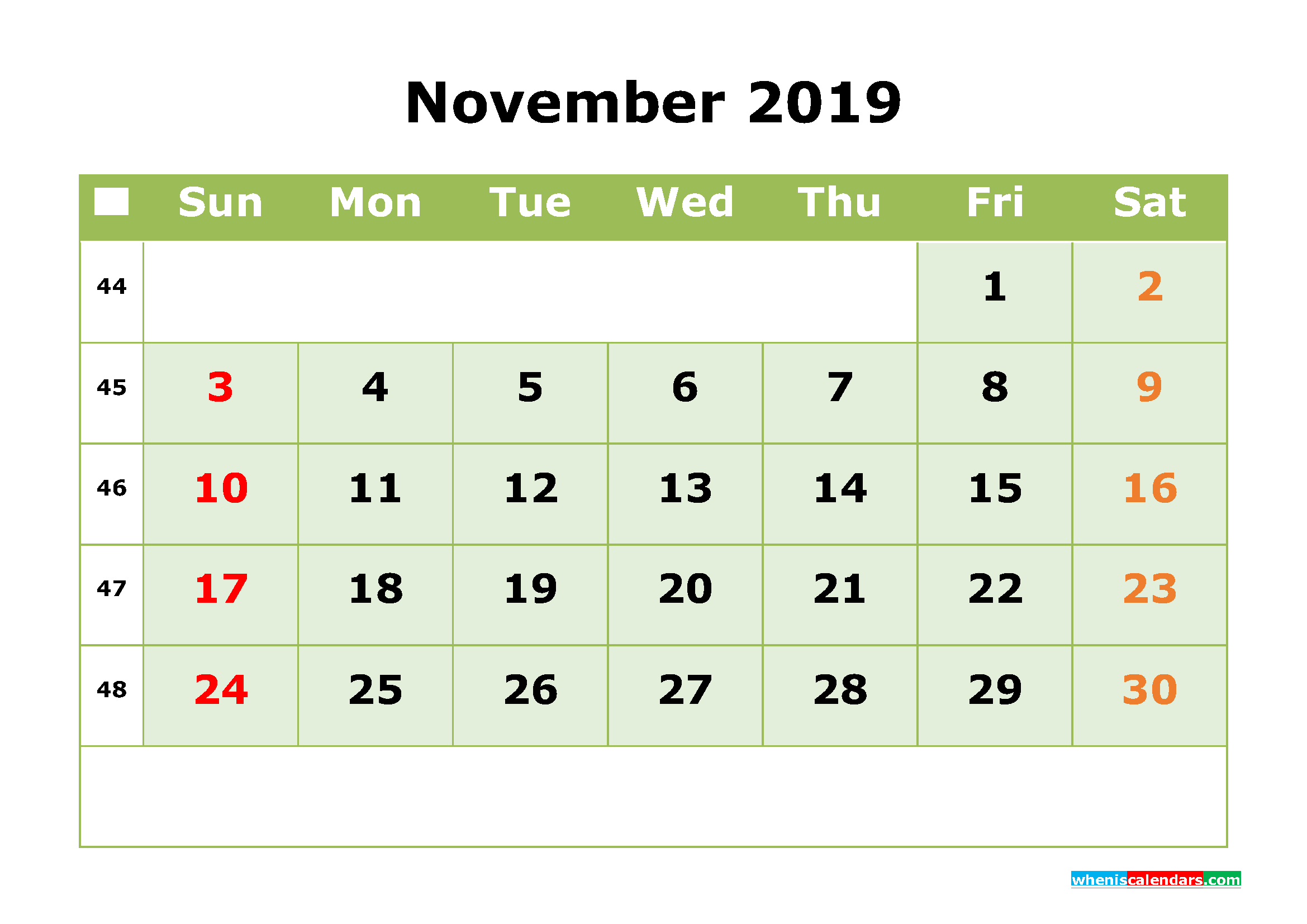 November 2019 Printable Calendar Month By Month Calendar Template