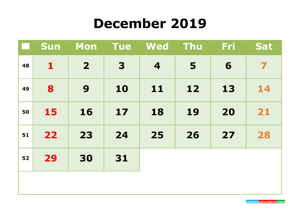 December 2019 Printable Calendar Month by Month Calendar Template