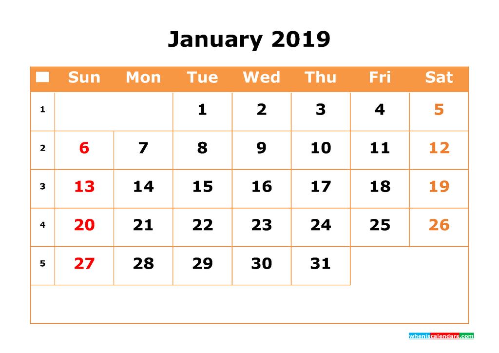 January 2019 Calendar with Week Numbers Printable