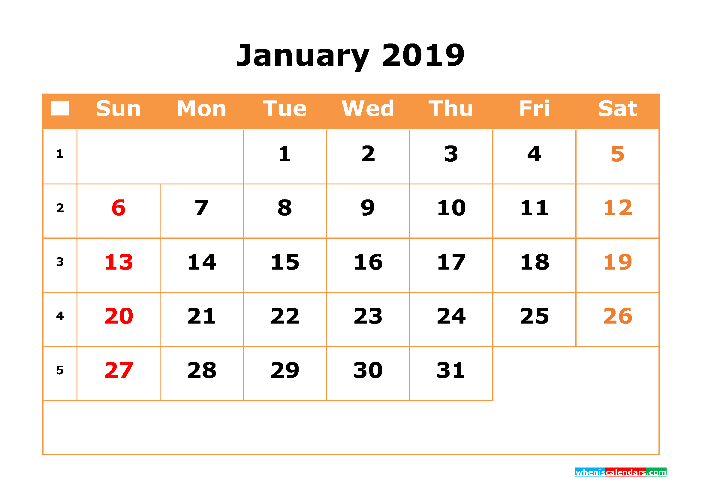 January 2019 Calendar with Week Numbers Printable