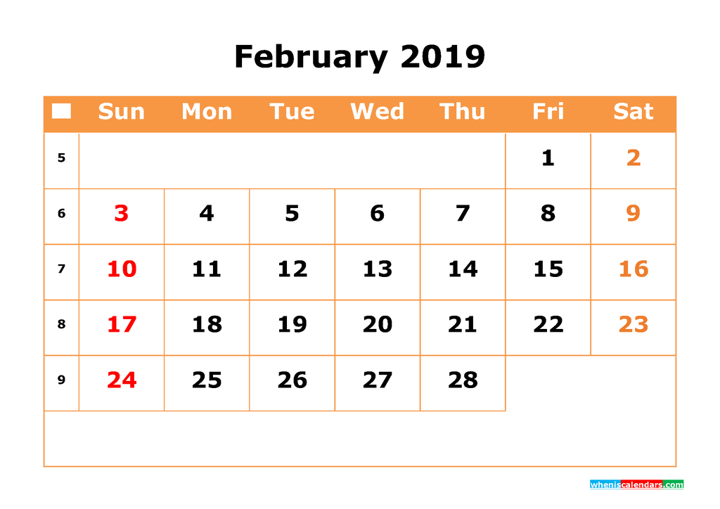 February 2019 Calendar with Week Numbers Printable