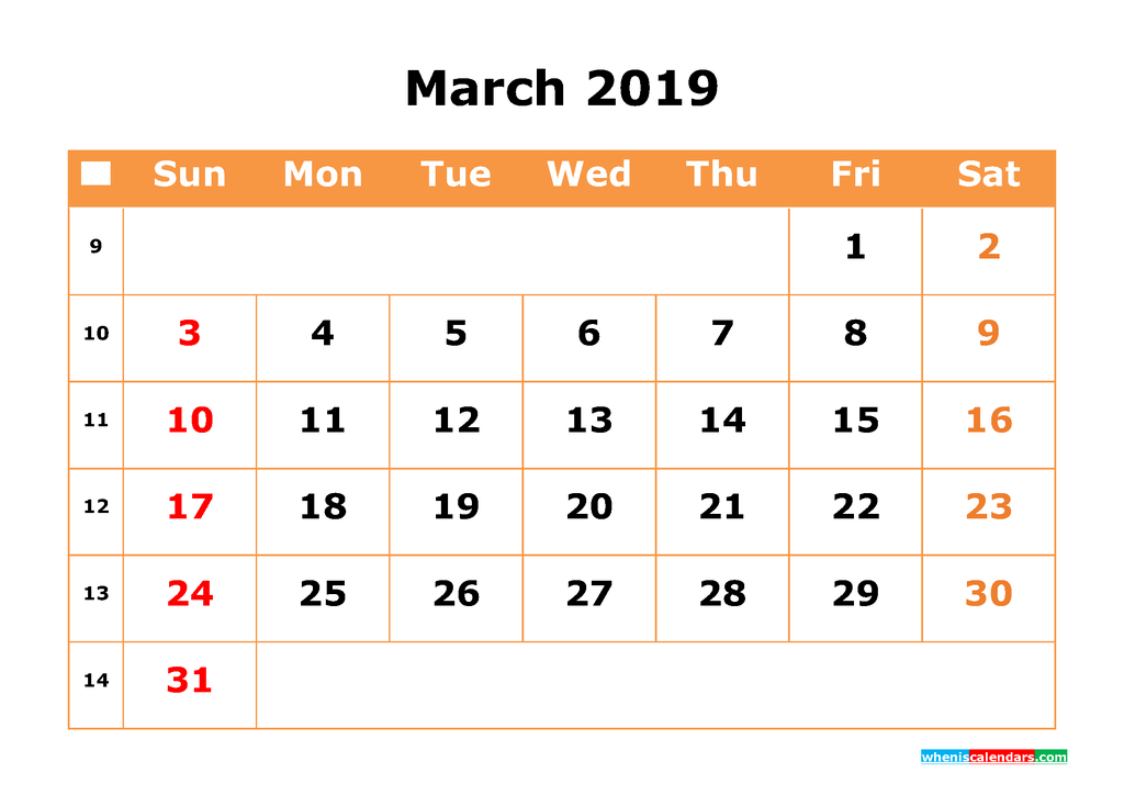 March 2019 Calendar with Week Numbers Printable