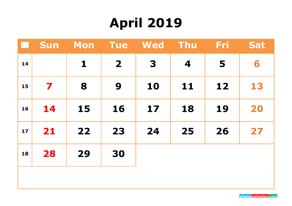 April 2019 Calendar with Week Numbers Printable