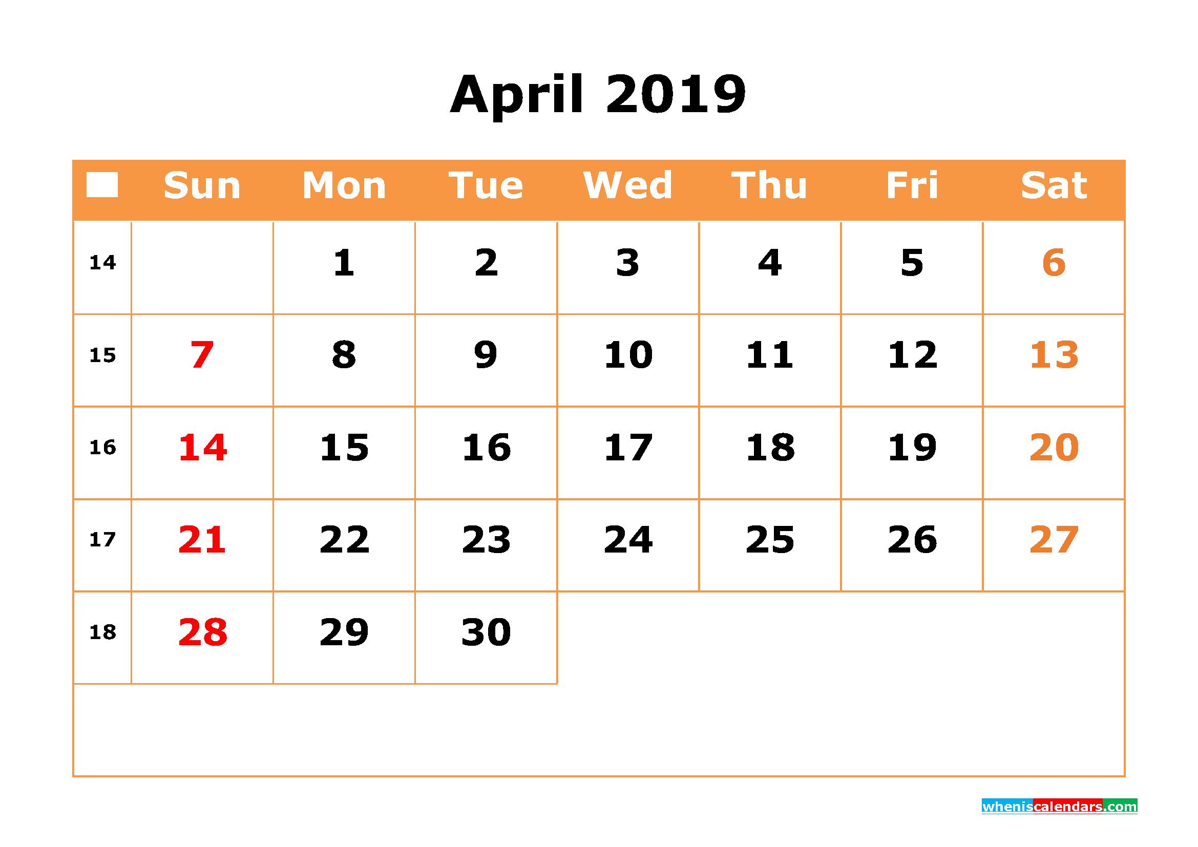 April 2019 Calendar with Week Numbers Printable