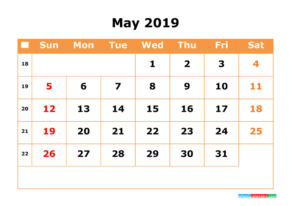 May 2019 Calendar with Week Numbers Printable