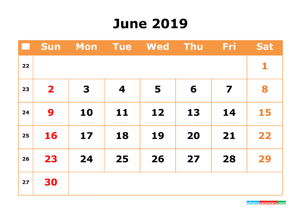 June 2019 Calendar with Week Numbers Printable