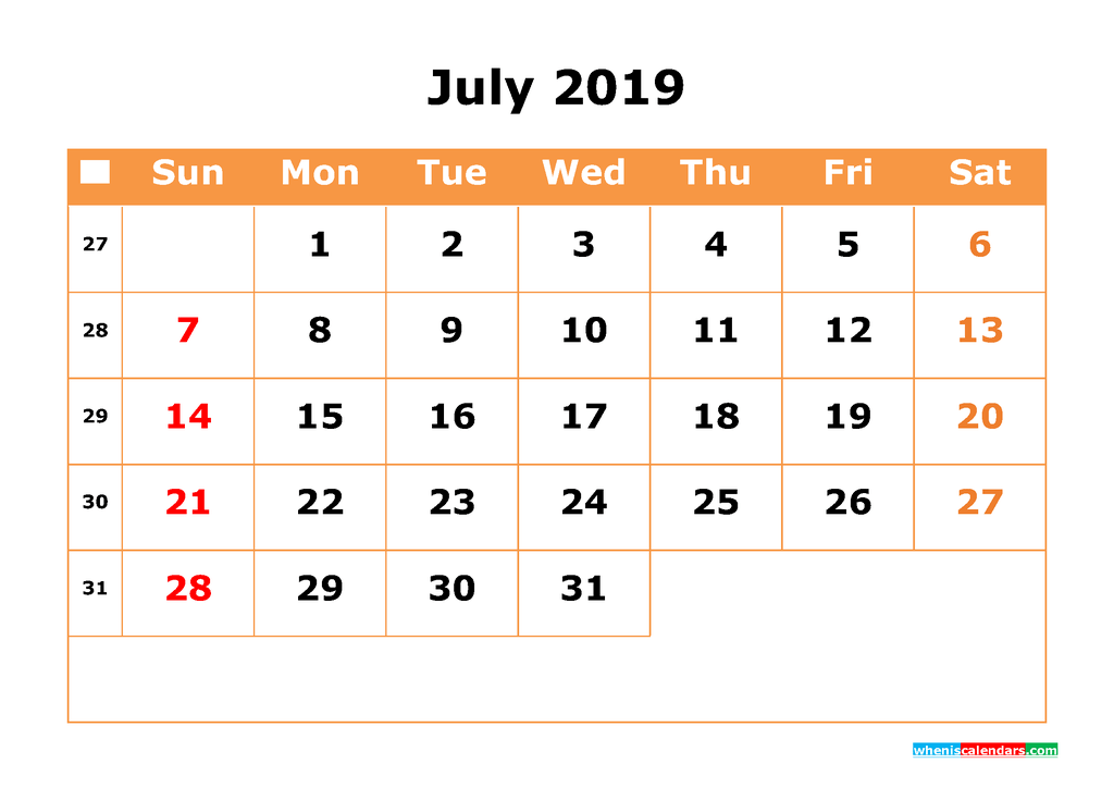 July 2019 Calendar with Week Numbers Printable