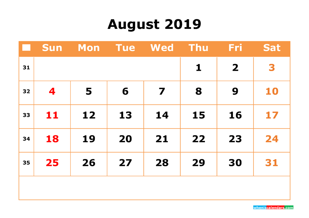 August 2019 Calendar with Week Numbers Printable