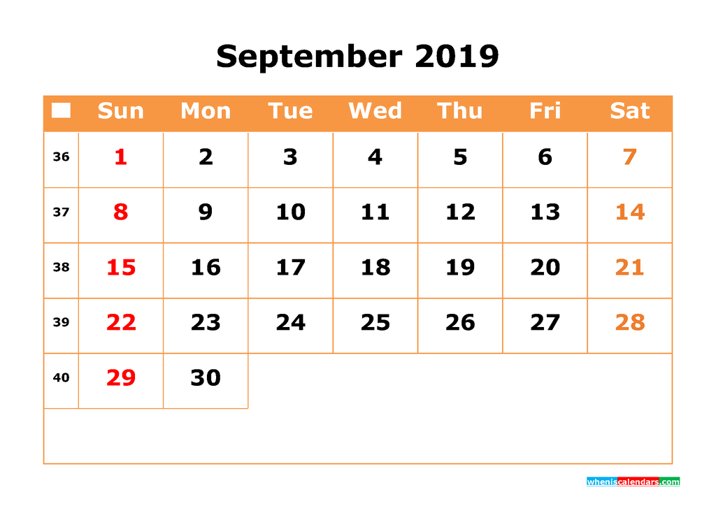 September 2019 Calendar with Week Numbers Printable