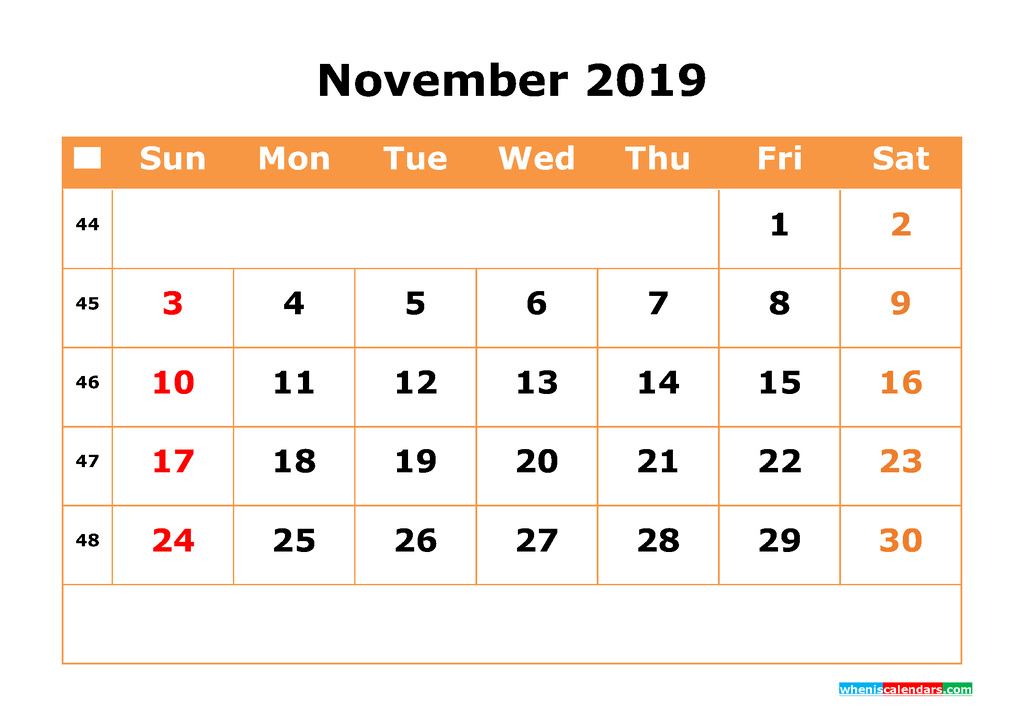 November 2019 Calendar with Week Numbers Printable