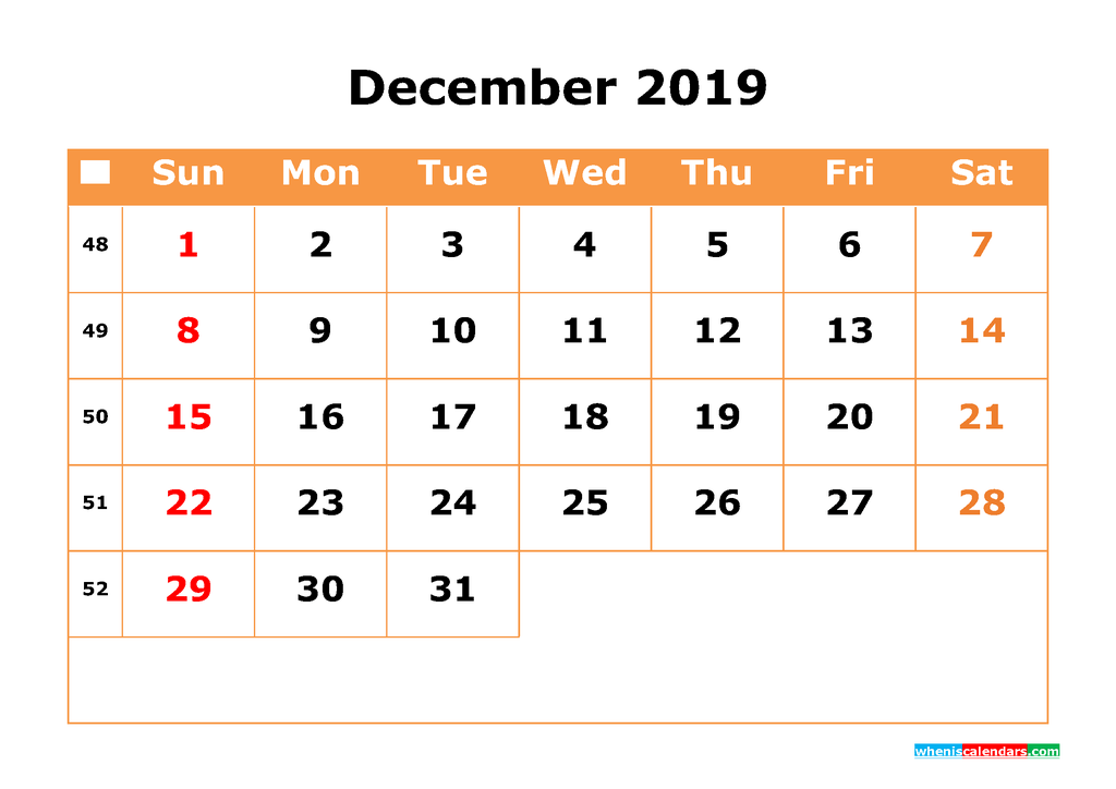 December 2019 Calendar with Week Numbers Printable