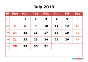 July 2019 Printable Calendar with Week Numbers for Free Download