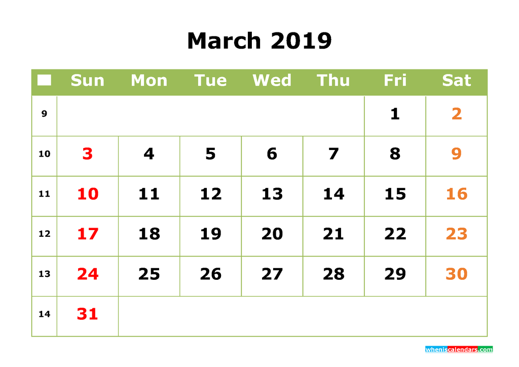 march 2019 calendar with week numbers printable as pdf and