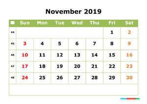 December 2019 Printable Calendar with Week Numbers for Free Download