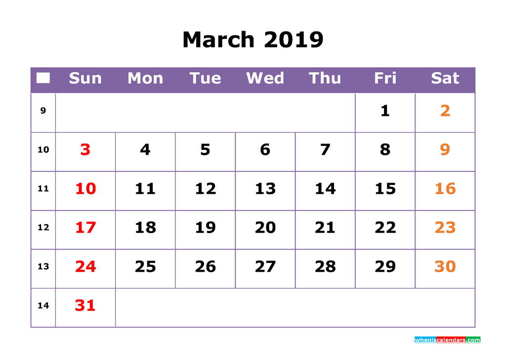 March 2019 Printable Calendar with Week Numbers for Free Download
