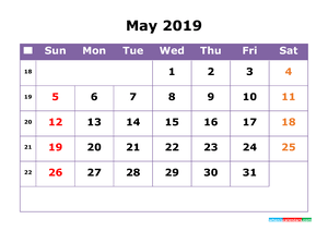 May 2019 Printable Calendar with Week Numbers for Free Download