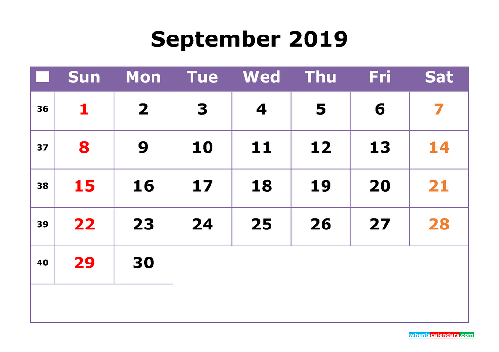 September 2019 Printable Calendar with Week Numbers for Free Download