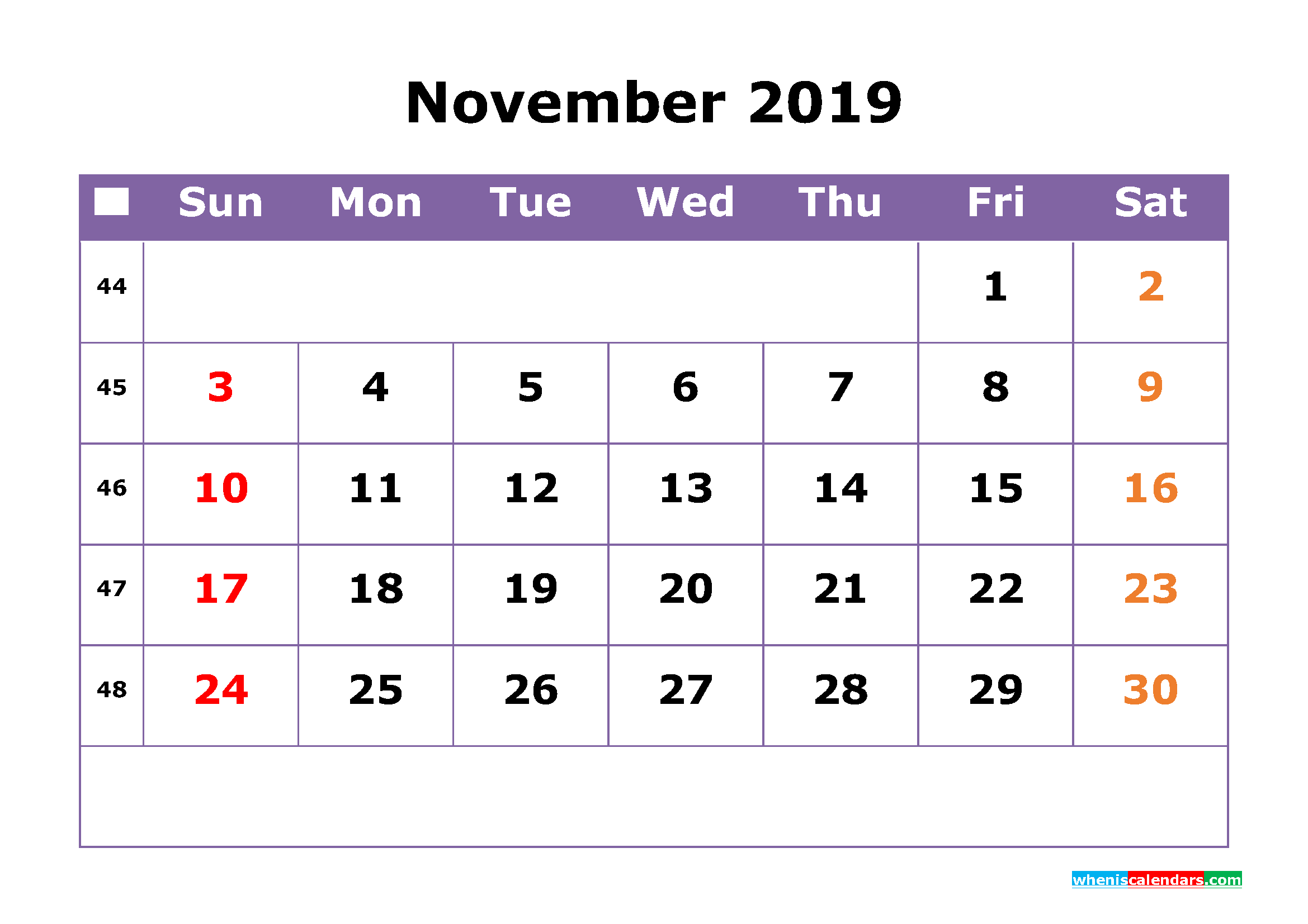 November 2019 Printable Calendar with Week Numbers for Free Download