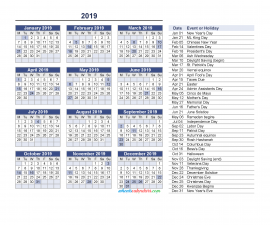 Yearly Calendar 2019 with Holidays Printable free Download as PDF and Image, Begin on Monday