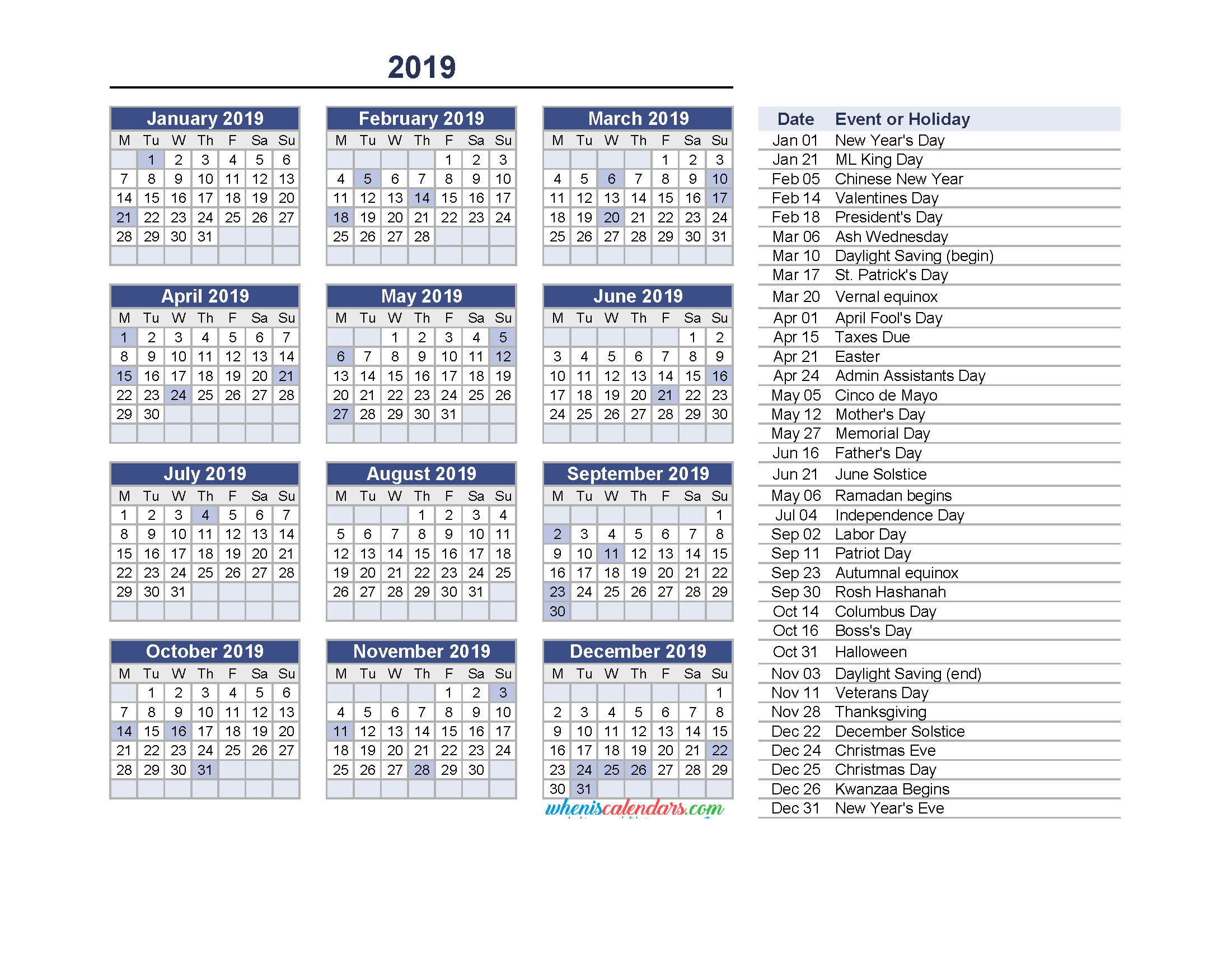 Yearly Calendar 2019 With Holidays Printable Pdf And Image Monday