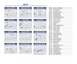 Yearly Calendar 2019 with Holidays Printable free Download as PDF and Image