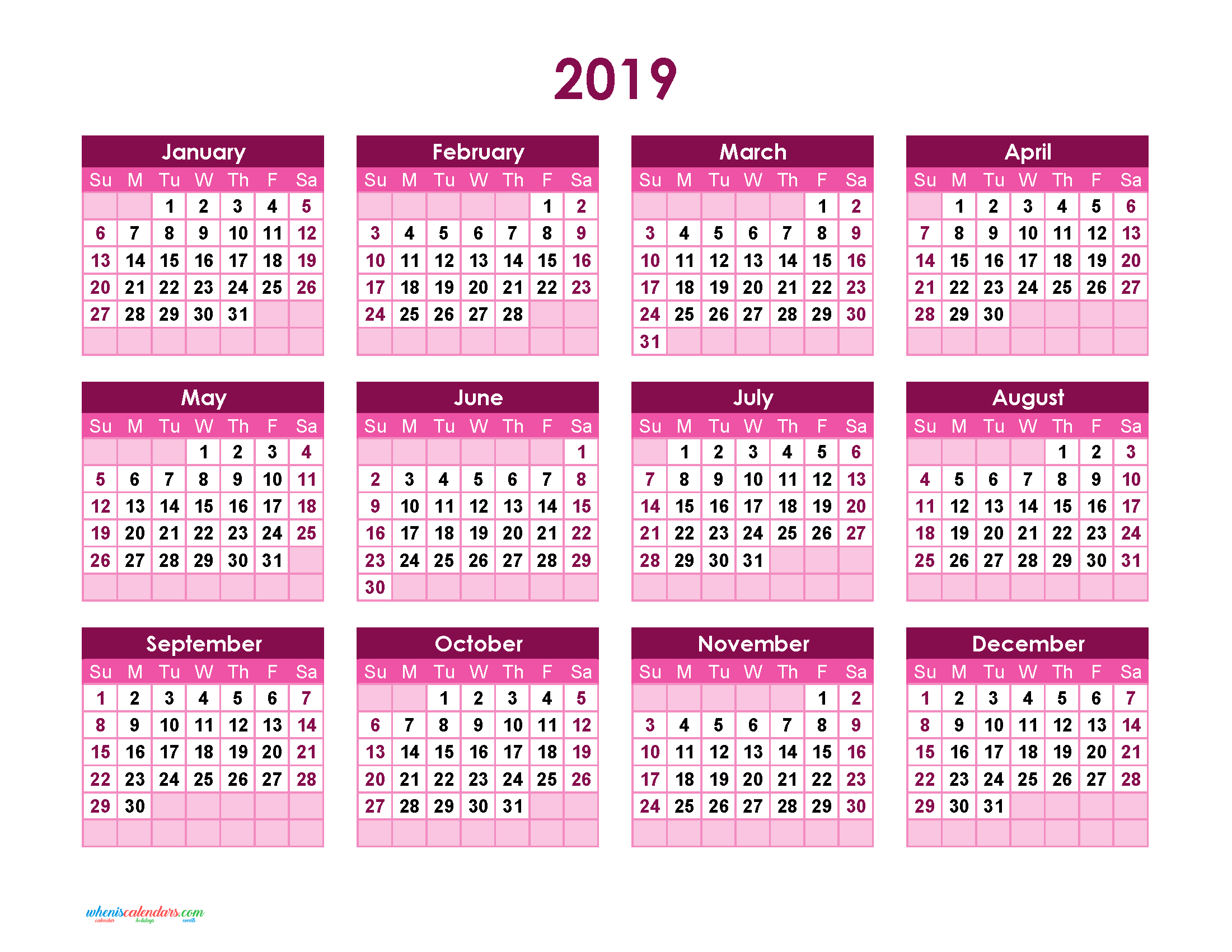 Yearly Calendar 2019 Printable Full Year Calendar 2019