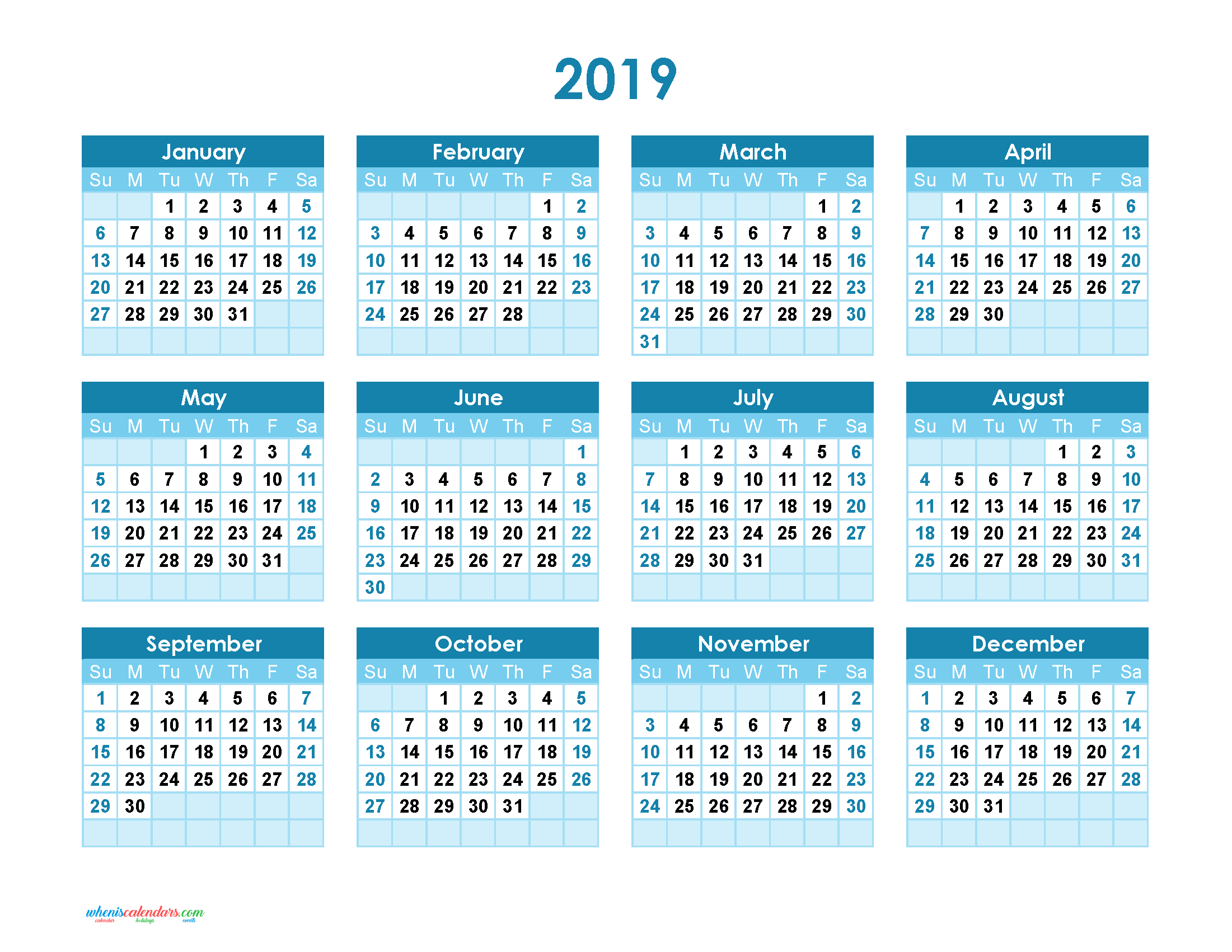 Yearly Calendar 2019 Printable. Annual Calendar 2019 for Free