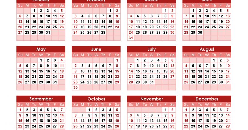 Yearly Calendar 2019 Printable. Annual Calendar 2019 for Free