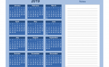 Printable Calendar 2019 with Notes Yearly Editor, Color Blue