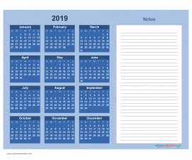 Printable Calendar 2019 with Notes free Download as PDF and Image - Color Blue