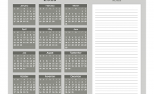 Printable Calendar 2019 with Notes Yearly Editor, Color Grayscale