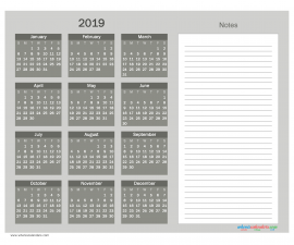 Printable Calendar 2019 with Notes free Download as PDF and Image - Color Grayscale