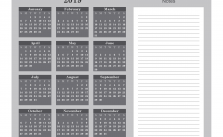 Printable Calendar 2019 with Notes Yearly Editor, Color Gray