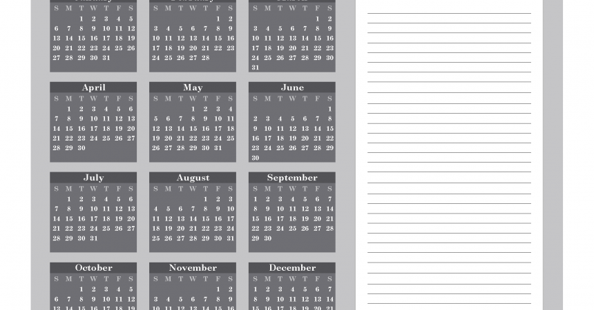 Printable Calendar 2019 with Notes free Download as PDF and Image - Color Gray