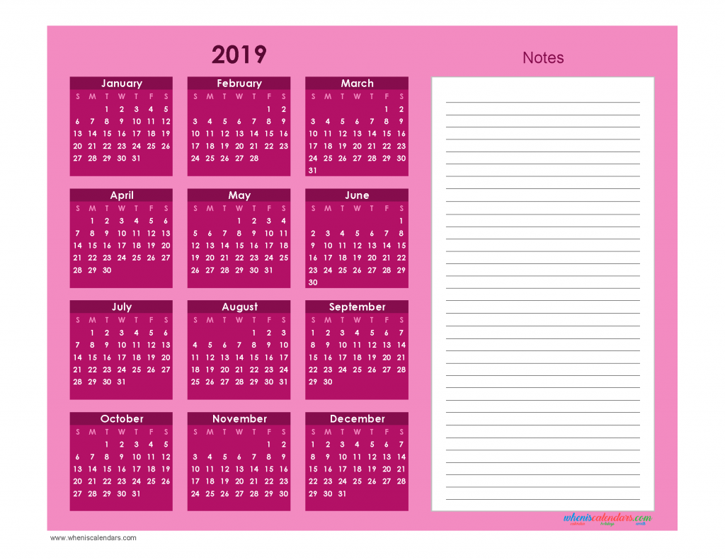 Printable Calendar 2019 with Notes free Download as PDF and Image - Ion Boardroom