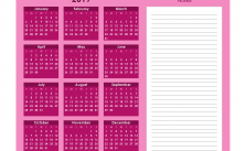 Printable Calendar 2019 with Notes Yearly Editor, Color
