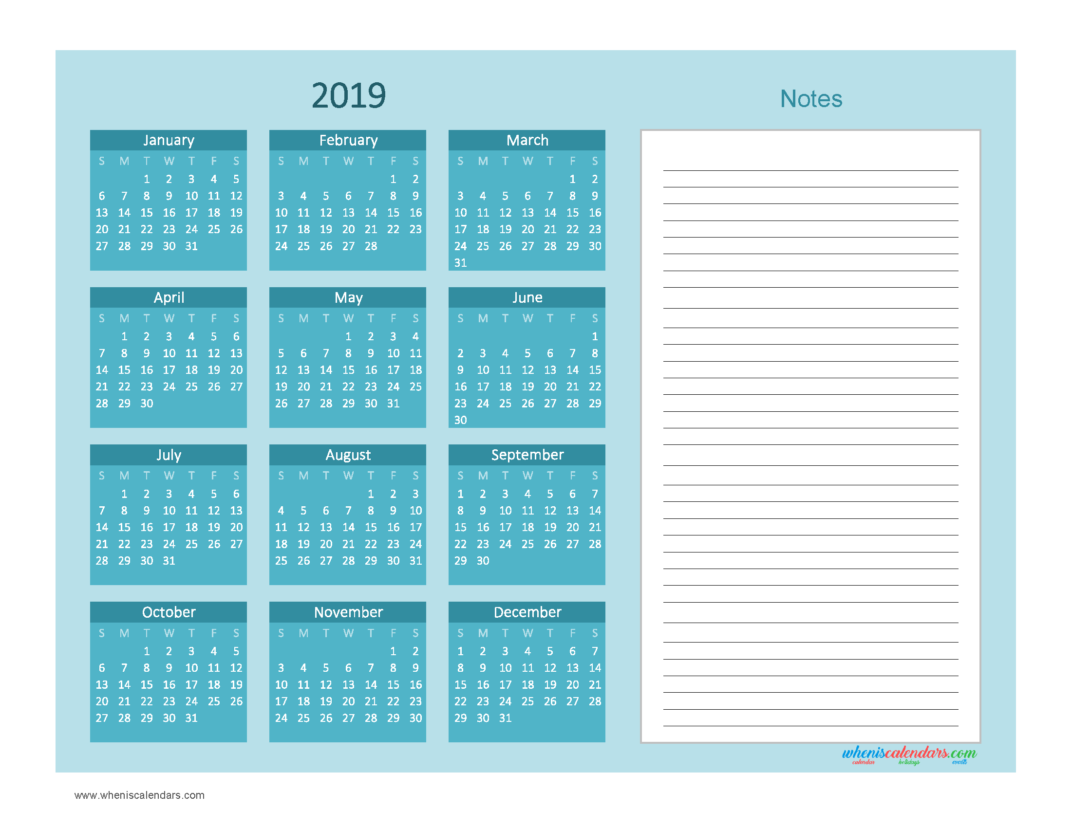 Printable Calendar 2019 with Notes free Download as PDF and Image - Color Ocean Blue