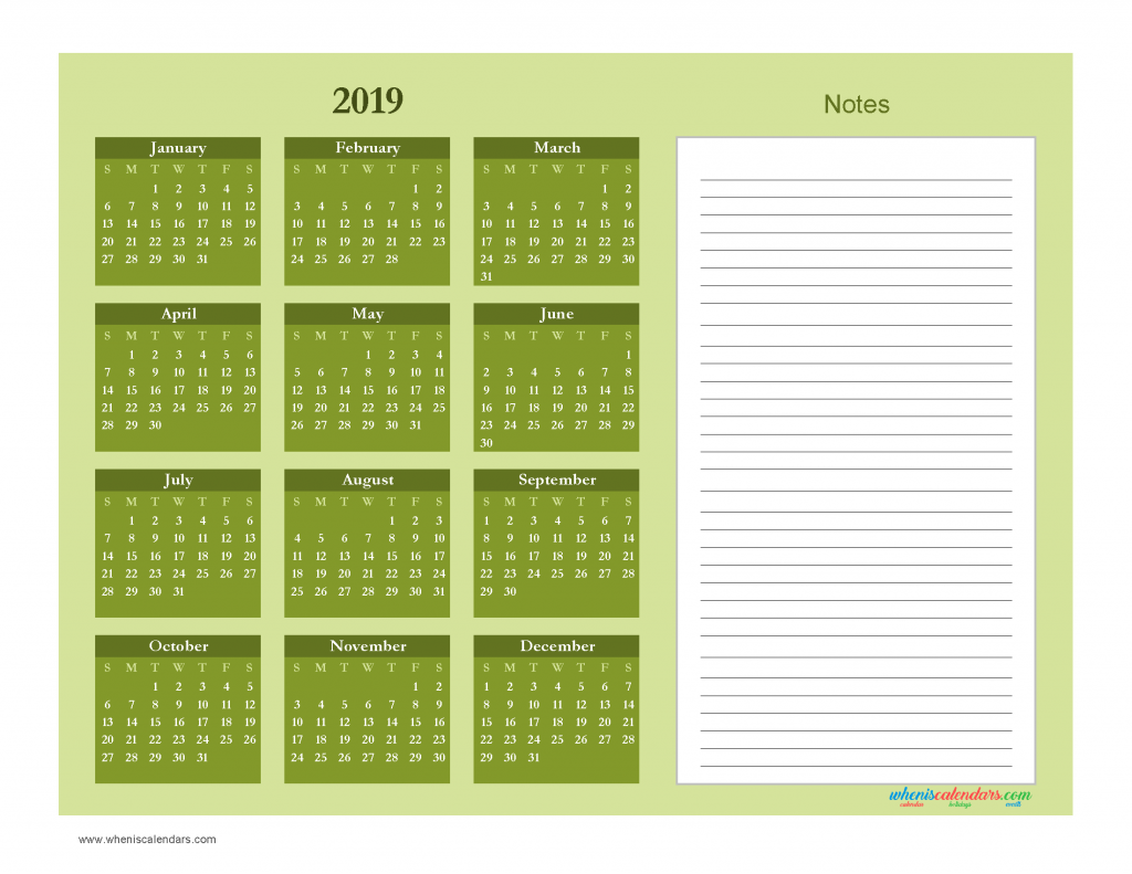 printable calendar 2019 with notes yearly editor free download