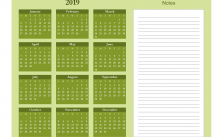 Printable Calendar 2019 with Notes Yearly Editor, Organic