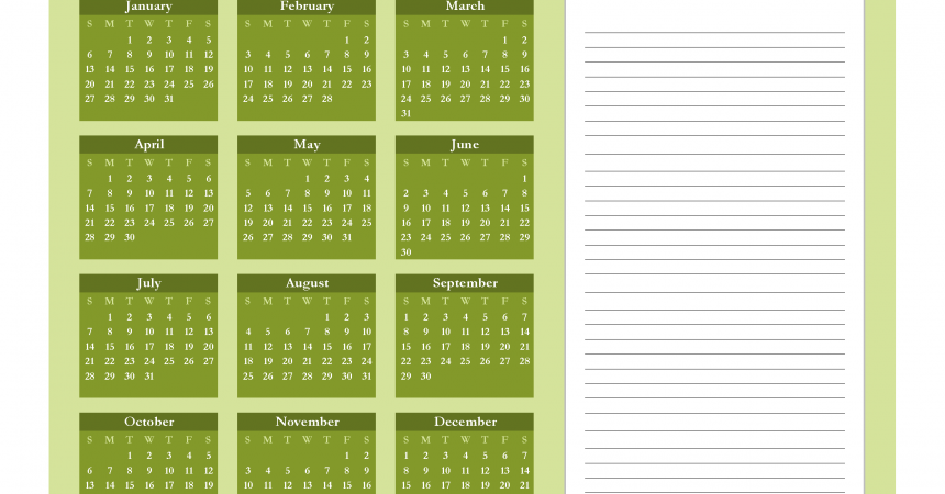 Printable Calendar 2019 with Notes free Download as PDF and Image - Color Green