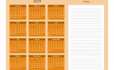 Printable Calendar 2019 with Notes Yearly Editor, Retrospect