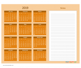 Printable Calendar 2019 with Notes free Download as PDF and Image - Color Orange