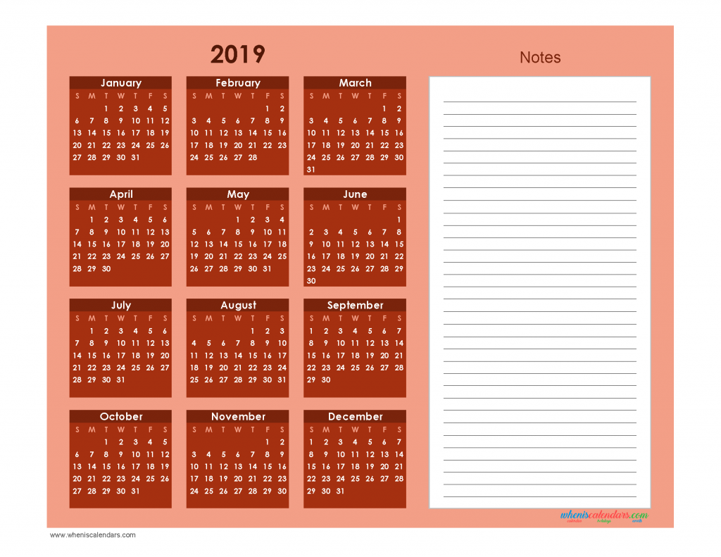 Printable Calendar 2019 with Notes free Download as PDF and Image - Color