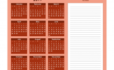 Printable Calendar 2019 with Notes Yearly Editor, Wisp