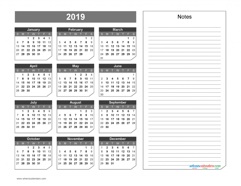 2019 Yearly Calendar with Notes Printable