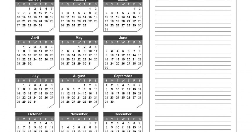 2019 Yearly Calendar with Notes Printable - Chamfer Collection, Gray Design
